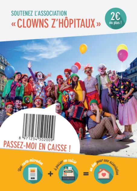 "cCarte MicroDON ""Clowns Z'hôpitaux"""