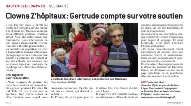 Clowns z'hôpitaux dans le quotidien Le Progrès